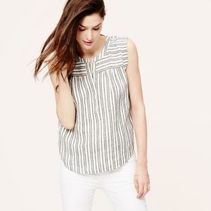 Loft Striped Linen Top, XXS Petite